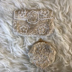 Vintage White purses clutches w/ beads & sequins